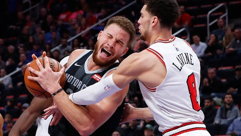 <p>               Chicago Bulls guard Zach LaVine (8) fouls Detroit Pistons forward Blake Griffin (23) during the second half of an NBA basketball game in Detroit, Friday, Nov. 30, 2018. (AP Photo/Paul Sancya)             </p>