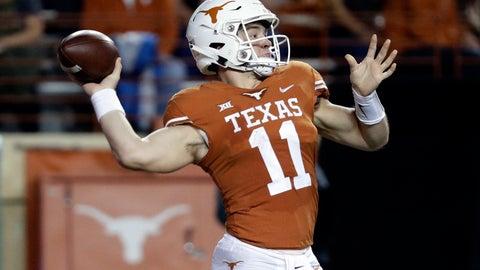 <p>               Texas quarterback Sam Ehlinger (11) throws against Iowa State during the first half of an NCAA college football game, Saturday, Nov. 17, 2018, in Austin, Texas. (AP Photo/Eric Gay)             </p>