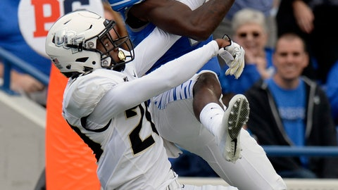 <p>               FILE - In this Oct. 13, 2018, file photo, Central Florida defensive back Brandon Moore (20) breaks up a pass intended for Memphis wide receiver Damonte Coxie (10) during the first half of an NCAA college football game, in Memphis, Tenn. The seventh-ranked Knights (11-0, 8-0, No. 8 CFP) are one victory away from their second straight American Athletic Conference championship, a likely New Year's Six bowl bid and bolstering their argument that they are deserving of consideration for a berth in the College Football Playoff. None of that is possible, though, without beating Memphis (8-4, 5-3) in Saturday's AAC title game. (AP Photo/Mark Zaleski, File)             </p>