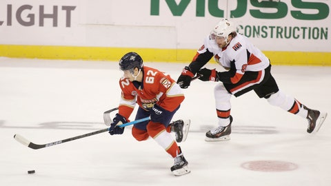 <p>               Florida Panthers center Denis Malgin (62) defends against Ottawa Senators right wing Bobby Ryan (9) during the first period of an NHL hockey game on Sunday, Nov. 11, 2018 in Sunrise, Fla. (AP Photo/Terry Renna)             </p>