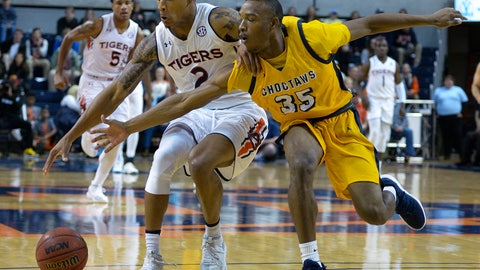 <p>               Auburn guard Bryce Brown (2) keeps the ball away from Mississippi College guard Dyllan Taylor (35) during the first half of an NCAA basketball game Wednesday, Nov. 14, 2018, in Auburn, Ala. (AP Photo/Julie Bennett)             </p>