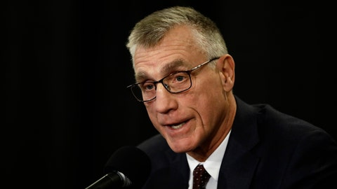 <p>               Philadelphia Flyers President Paul Holmgren speaks with members of the media during a news conference Tuesday, Nov. 27, 2018, in Philadelphia, the day after the NHL hockey club fired general manager Ron Hextall. (AP Photo/Matt Rourke)             </p>