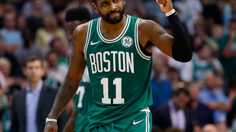 <p>               Boston Celtics guard Kyrie Irving celebrates a basket during the second half of the team's NBA basketball game against the Phoenix Suns, Thursday, Nov. 8, 2018, in Phoenix. The Celtics won 116-109 in overtime. (AP Photo/Matt York)             </p>