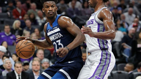 <p>               Minnesota Timberwolves guard Jimmy Butler (23) battles for position against Sacramento Kings guard Buddy Hield (24) during the first half of an NBA basketball game in Sacramento, Calif., Friday, Nov. 9, 2018. (AP Photo/Steve Yeater)             </p>