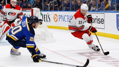 <p>               Carolina Hurricanes' Brett Pesce, right, handles the puck as he is pressured by St. Louis Blues' Alexander Steen during the second period of an NHL hockey game Tuesday, Nov. 6, 2018, in St. Louis. (AP Photo/Billy Hurst)             </p>