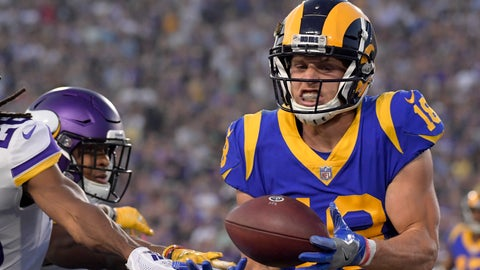 <p>               FILE - In this Sept. 27, 2018, file photo, Los Angeles Rams wide receiver Cooper Kupp catches a touchdown pass during the first half of the team's NFL football game against the Minnesota Vikings in Los Angeles. The Rams expect to have Kupp back in uniform after a two-game absence with a knee injury. The second-year target's presence would be a boon for quarterback Jared Goff, who found Kupp for a team-leading 869 yards receiving last season. (AP Photo/Mark J. Terrill, File)             </p>