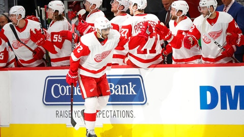 <p>               Detroit Red Wings center Andreas Athanasiou (72) celebrates his goal against the Boston Bruins in the third period of an NHL hockey game Wednesday, Nov. 21, 2018, in Detroit. (AP Photo/Paul Sancya)             </p>
