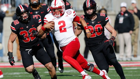 <p>               Nebraska quarterback Adrian Martinez cuts upfield against Ohio State during the first half of an NCAA college football game Saturday, Nov. 3, 2018, in Columbus, Ohio. (AP Photo/Jay LaPrete)             </p>