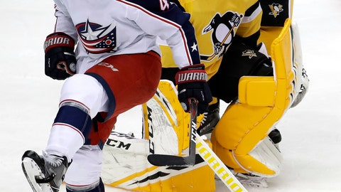 <p>               Columbus Blue Jackets' Scott Harrington (4) celebrates his goal on Pittsburgh Penguins goaltender Casey DeSmith (1) during the first period of an NHL hockey game in Pittsburgh, Saturday, Nov. 24, 2018. (AP Photo/Gene J. Puskar)             </p>