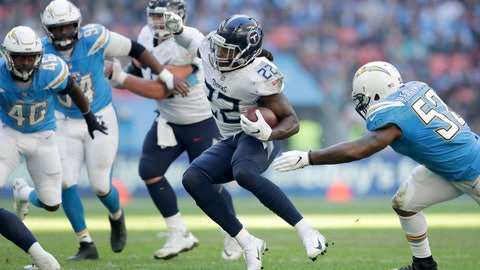 <p>               FILE - In this Oct. 21, 2018, file photo, Tennessee Titans running back Derrick Henry (22) carries the ball during an NFL football game against the Los Angeles Chargers in London. Henry has talked a very good game on the kind of running back he wants to be for the Titans. The 2015 Heisman Trophy winner knows it's time he starts proving it. (AP Photo/Matt Dunham, File)             </p>