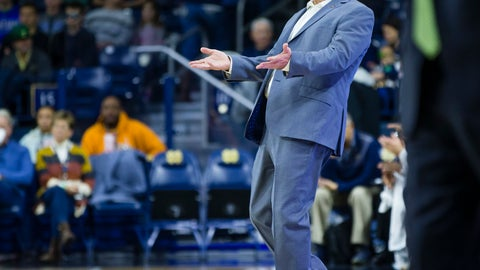 <p>               Notre Dame head coach Mike Brey reacts to a call during an NCAA college basketball game against William & Mary,  Saturday, Nov. 17, 2018 at Purcell Pavilion in South Bend. (Michael Caterina/South Bend Tribune via AP)             </p>