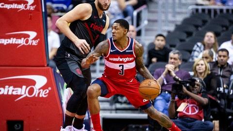 <p>               Washington Wizards guard Bradley Beal (3) dribbles past Portland Trail Blazers guard Wade Baldwin IV (2) during the first half of an NBA basketball game Sunday, Nov. 18, 2018, in Washington. (AP Photo/Al Drago)             </p>
