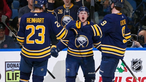 <p>               Buffalo Sabres' Sam Reinhart (23), Jeff Skinner and Jck Eichel (9) celebrate a goal during the third period of the team's NHL hockey game against the Montreal Canadiens, Friday, Nov. 23, 2018, in Buffalo N.Y. (AP Photo/Jeffrey T. Barnes)             </p>