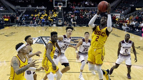 <p>               Southern California's Jonah Mathews (2) puts up a shot during the first half of an NCAA college basketball game against Missouri State Tuesday, Nov. 20, 2018, in Kansas City, Mo. (AP Photo/Charlie Riedel)             </p>