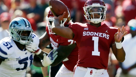 <p>               FILE - In this Oct. 27, 2018, file photo, Oklahoma quarterback Kyler Murray (1) throws in front of Kansas State defensive end Reggie Walker (51) in the first half of an NCAA college football game in Norman, Okla. Murray trusts Oklahoma coach Lincoln Riley's Air Raid system and the players in it. (AP Photo/Sue Ogrocki, File)             </p>