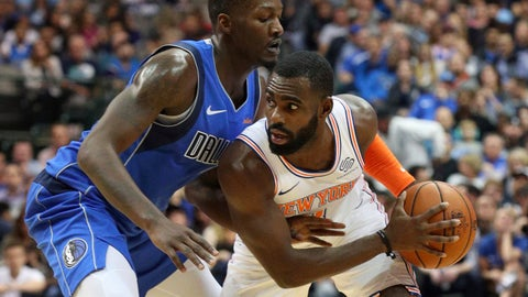 <p>               Dallas Mavericks forward Dorian Finney-Smith (10) defends as New York Knicks guard Tim Hardaway Jr. (3) looks for an opening in the first half of an NBA basketball game Friday, Nov. 2, 2018, in Dallas. (AP Photo/Richard W. Rodriguez)             </p>