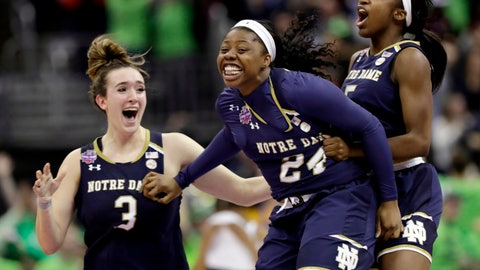 <p>               FILE - In this Sunday, April 1, 2018 file photo, Notre Dame's Arike Ogunbowale, center, is congratulated by teammates Jackie Young, right, and Marina Mabrey (3) after sinking a 3-point basket to defeat Mississippi State 61-58 in the final of the women's NCAA Final Four college basketball tournament in Columbus, Ohio. Arike Ogunbowale and Marina Mabrey will always have Columbus, Ohio. The senior guards and off-campus roommates for No. 1 Notre Dame will always have Brooklyn, too. The friendship between Ogunbowale, the Milwaukee scoring machine, and Mabrey, the street-wise Jersey shore kid, was cemented at the Barclays Center on April 17, 2015 in the Jordan Brand Classic. (AP Photo/Tony Dejak, File)             </p>