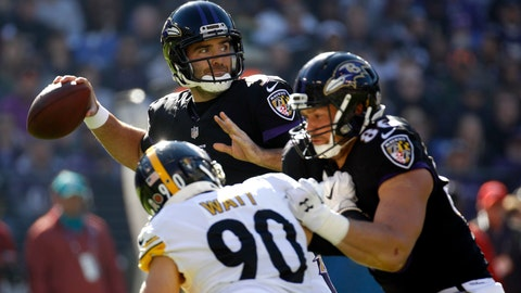 <p>               Baltimore Ravens quarterback Joe Flacco, center, throws to a receiver as Ravens tight end Nick Boyle, front right, keeps Pittsburgh Steelers outside linebacker T.J. Watt away in the first half of an NFL football game, Sunday, Nov. 4, 2018, in Baltimore. (AP Photo/Patrick Semansky)             </p>