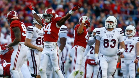 <p>               Alabama defensive back Deionte Thompson (14) celebrates after Mississippi State place kicker Jace Christmann (47) missed a field goal-attempt during the first half of an NCAA college football game, Saturday, Nov. 10, 2018, in Tuscaloosa, Ala. (AP Photo/Butch Dill)             </p>