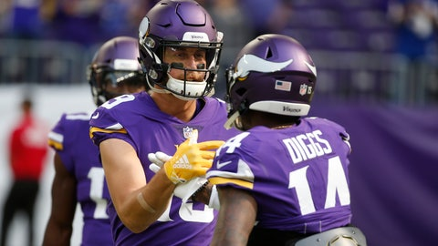 <p>               FILE - In this Sept. 23, 2018, file photo, Minnesota Vikings wide receiver Adam Thielen talks with teammate Stefon Diggs, right, before an NFL football game against the Buffalo Bills in Minneapolis. This dominant wide receiver duo is a major reason why the Vikings remain in the mix with the NFC's top contenders despite some rough spots in the first half of the season. (AP Photo/Bruce Kluckhohn, File)             </p>