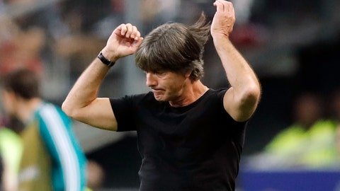 <p>               FILE - In this file photo dated Tuesday, Oct. 16, 2018, Germany's head coach Joachim Loew reacts as he watches his players during a UEFA Nations League soccer match between France and Germany at Stade de France stadium in Saint Denis, north of Paris. Germany is last in the group, having collected one point from three games, and is on the brink of relegation but coach Joachim Loew's decision to stay on in the role is under as much scrutiny as the team's mettle. (AP Photo/Christophe Ena, FILE)             </p>