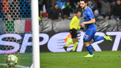 <p>               Italy's Matteo Politano scores his side's first goal during the international friendly soccer match between Italy and the United States at Cristal Arena in Genk, Belgium, Tuesday, Nov. 20, 2018. (AP Photo/Geert Vanden Wijngaert)             </p>
