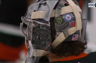 John Gibson to wear military-inspired goalie mask, auction it off for charity