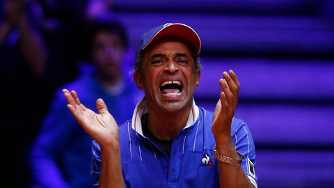 <p>               France's team captain Yannick Noah reacts during the Davis Cup final match between France's Nicolas Mahut and Pierre Hughes Herbert and Croatia's Ivan Dodig and Mate Pavic, Saturday, Nov. 24, 2018 in Lille, northern France. Nicolas Mahut and Pierre-Hugues Herbert kept French hopes alive in the Davis Cup final with a 6-4, 6-4, 3-6, 7-6 (3) win over Croatia's Ivan Dodig and Mate Pavic in the doubles on Saturday. (AP Photo/Thibault Camus)             </p>