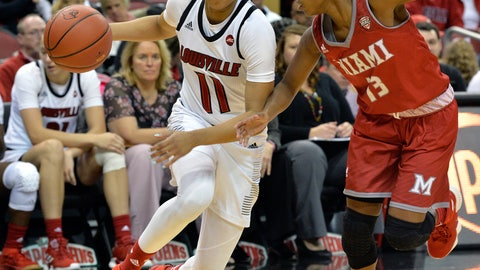 <p>               Louisville guard Arica Carter (11) attempts to drive past the defense of Miami (Ohio) guard Lauren Dickerson (13) during the second half of an NCAA college basketball game, in Louisville, Ky., Monday, Nov. 26, 2018. (AP Photo/Timothy D. Easley)             </p>