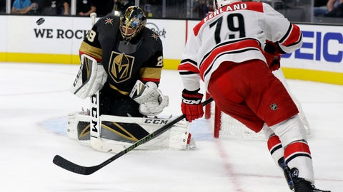 <p>               Vegas Golden Knights goalie Marc-Andre Fleury blocks a shot from Carolina Hurricanes left wing Micheal Ferland during the first period of an NHL hockey game Saturday, Nov. 3, 2018, in Las Vegas. (AP Photo/Isaac Brekken)             </p>