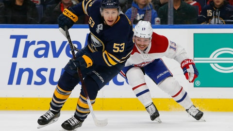 <p>               Buffalo Sabres forward Jeff Skinner (53) skates past Montreal Canadiens forward Max Domi (13) during the third period of an hockey game, Friday, Nov. 23, 2018, in Buffalo N.Y. (AP Photo/Jeffrey T. Barnes)             </p>