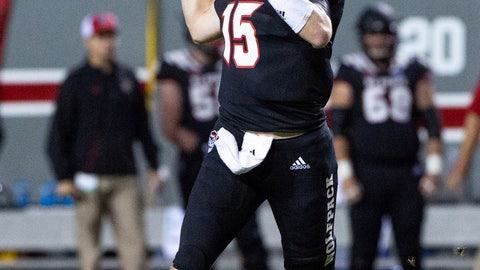 <p>               North Carolina State quarterback Ryan Finley (15) looks to pass during the first half of an NCAA college football game against Wake Forest in Raleigh, N.C., Thursday, Nov. 8, 2018. (AP Photo/Ben McKeown)             </p>