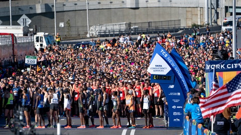 <p>               Runners wait at the starting line during the New York City Marathon on Sunday, Nov. 4, 2018, in New York. (AP Photo/Craig Ruttle)             </p>