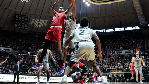 <p>               Ball State center Trey Moses (24) battles for a rebound with Purdue forward Aaron Wheeler (1) in the first half of an NCAA college basketball game in West Lafayette, Ind., Saturday, Nov. 10, 2018. (AP Photo/AJ Mast)             </p>
