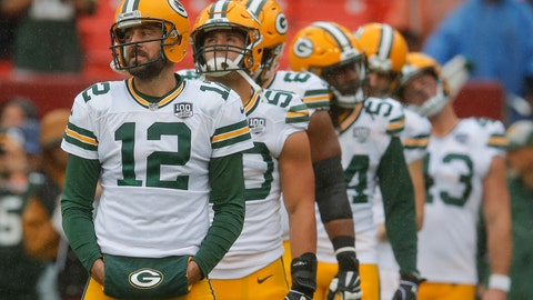 <p>               FILE - In this Sept. 23, 2018, file photo, Green Bay Packers quarterback Aaron Rodgers (12) warms up with the team before the NFL football game against the Washington Redskins in Landover, Md. A prime-time showdown between two of the league's most successful quarterbacks highlights Week 9 of the NFL season. Aaron Rodgers and the Packers head to New England to take on Tom Brady and the Patriots. (AP Photo/Carolyn Kaster, File)             </p>