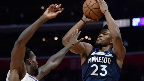 <p>               File-This Nv. 5, 2018, file photo shows Minnesota Timberwolves guard Jimmy Butler, right, shooting as Los Angeles Clippers guard Patrick Beverley defends during the second half of an NBA basketball game in Los Angeles.  Butler is headed to Philadelphia, ending the weeks-long saga of him wanting out of Minnesota. A person with knowledge of the situation says Butler is being traded to the 76ers in a package that will send Dario Saric and Robert Covington to the Timberwolves. (AP Photo/Mark J. Terrill, File)             </p>