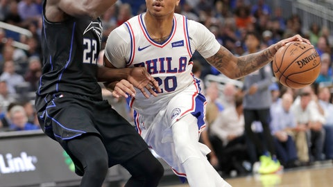 <p>               Philadelphia 76ers' Markelle Fultz (20) drives around Orlando Magic's Jerian Grant (22) during the first half of an NBA basketball game Wednesday, Nov. 14, 2018, in Orlando, Fla. (AP Photo/John Raoux)             </p>