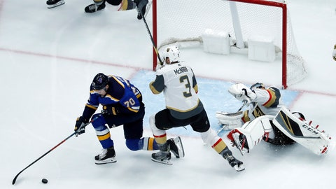 <p>               St. Louis Blues' Oskar Sundqvist (70), of Sweden, spins around to score past Vegas Golden Knights goaltender Marc-Andre Fleury, right, and Brayden McNabb (3) during the first period of an NHL hockey game Thursday, Nov. 1, 2018, in St. Louis. (AP Photo/Jeff Roberson)             </p>