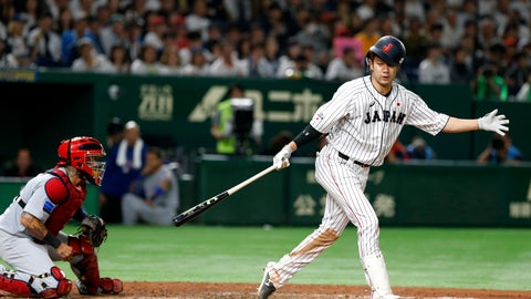 <p>               All Japan's Yuki Yanagita is struck out swinging off MLB All-Star pitcher Collin McHugh of the Houston Astros in the seventh inning of Game 1 of their All-Stars Series baseball at Tokyo Dome in Tokyo, Friday, Nov. 9, 2018. At left is MLB All-Star catcher Yadier Molina of the St. Louis Cardinals. (AP Photo/Toru Takahashi)             </p>