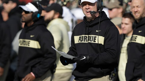 <p>               FILE - In this Nov. 24, 2018, file photo, Purdue coach Jeff Brohm watches his team play Indiana during an NCAA college football game in Bloomington, Ind. One day after reportedly meeting with Louisville officials in central Indiana, Brohm informed Boilermakers athletic director Mike Bobinski he was turning down the Cardinals job so he could stay in West Lafayette. (AP Photo/Darron Cummings, File)             </p>