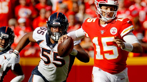 <p>               FILE - In this Sunday, Oct. 28, 2018, file photo, Kansas City Chiefs quarterback Patrick Mahomes (15) is pursued by Denver Broncos linebacker Bradley Chubb (55) during the second half of an NFL football game in Kansas City, Mo. Von Miller and Bradley Chubb have been in a race to the quarterback all season, with Miller collecting eight sacks and Chubb seven so far.  On Thursday, Nov. 1, 2018, Chubb joined Miller (November 2011) and linebacker D.J. Williams (December 2004) as the only Broncos to win the NFL Defensive Player of the Month award.  (AP Photo/Charlie Riedel, File)             </p>