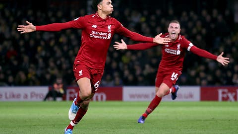 <p>               Liverpool's Trent Alexander-Arnold, left, celebrates scoring his side's second goal of the game with a free kickduring their English Premier League soccer match against Watford at Vicarage Road, Watford, England, Saturday, Nov. 24, 2018. (Chris Radburn/PA via AP)             </p>