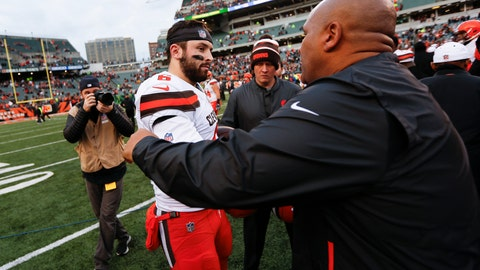 """<p>               FILE - In this Sunday, Nov. 25, 2018, file photo, Cleveland Browns quarterback Baker Mayfield (6) meets with Cincinnati Bengals special assistant Hue Jackson, right, after an NFL football game in Cincinnati. Mayfield said he doesn't regret calling former Browns coach Hue Jackson """"fake"""" and said he has no plans to change despite criticism about his behavior.(AP Photo/Frank Victores, File)             </p>"""