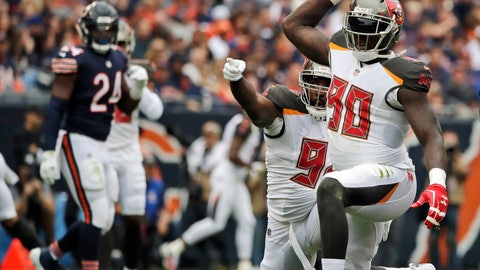 <p>               FILE - In this Sept. 30, 2018, file photo, Tampa Bay Buccaneers defensive end Jason Pierre-Paul, right, celebrates a quarterback sack during the first half of an NFL football game against the Chicago Bears in Chicago. Pierre-Paul faces his old team, the New York Giants, on Sunday. (AP Photo/Nam Y. Huh, File)             </p>