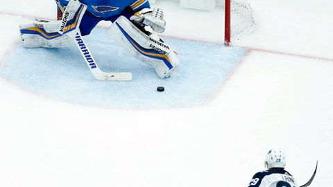 <p>               Winnipeg Jets' Patrik Laine (29), of Finland, scores against St. Louis Blues goaltender Chad Johnson during the second period of an NHL hockey game Saturday, Nov. 24, 2018, in St. Louis. (AP Photo/Jeff Roberson)             </p>