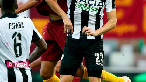 <p>               Udinese's Ignacio Pussetto, right, and Roma's Steven Nzonzi  jump for the ball during the Serie A soccer match between Udinese and Roma at the Friuli stadium in Udine, Italy, Saturday, Nov. 24, 2018. (Stefano Lancia/ANSA via AP)             </p>
