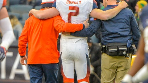 <p>               Syracuse quarterback Eric Dungey (2) is helped off the field after he was injured in the first half of an NCAA college football game against Notre Dame, Saturday, Nov. 17, 2018, at Yankee Stadium in New York. (AP Photo/Howard Simmons)             </p>