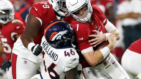<p>               FILE - In this Aug. 30, 2018, file photo, Denver Broncos linebacker Jeff Holland sacks Arizona Cardinals quarterback Mike Glennon during the first half of a preseason NFL football game, in Glendale, Ariz. The Broncos have promoted rookie pass rusher Jeff Holland from their practice squad and waived inside linebacker Alexander Johnson. An outside linebacker from Auburn, Holland signed with the Broncos on May 1 after going undrafted. (AP Photo/Matt York, File)             </p>