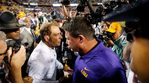 <p>               Alabama head coach Nick Saban, left, shakes hands with LSU head coach Ed Orgeron after their NCAA college football game in Baton Rouge, La., Saturday, Nov. 3, 2018. Alabama won 29-0. (AP Photo/Gerald Herbert)             </p>