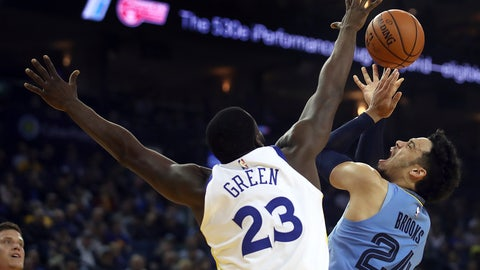 <p>               Memphis Grizzlies' Dillon Brooks, right, shoots against Golden State Warriors' Draymond Green (23) during the first half of an NBA basketball game Monday, Nov. 5, 2018, in Oakland, Calif. (AP Photo/Ben Margot)             </p>